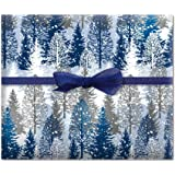Christmas Snowy Trees Jumbo Rolled Gift Wrap - 67 sq ft.