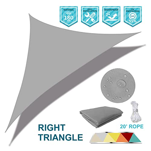 Coarbor Waterproof UV Block 16 x16 x23 Right Triangle Light Grey Sun Shade Sail Canopy Triangle 180 GSM Polyester for Pergola Carport Awning Patio Yard- Customized