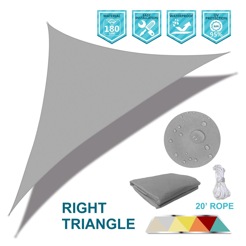 Coarbor Waterproof UV Block 16'x16'x23' Right Triangle Light Grey Sun Shade Sail Canopy Triangle 180 GSM Polyester for Pergola Carport Awning Patio Yard- Customized