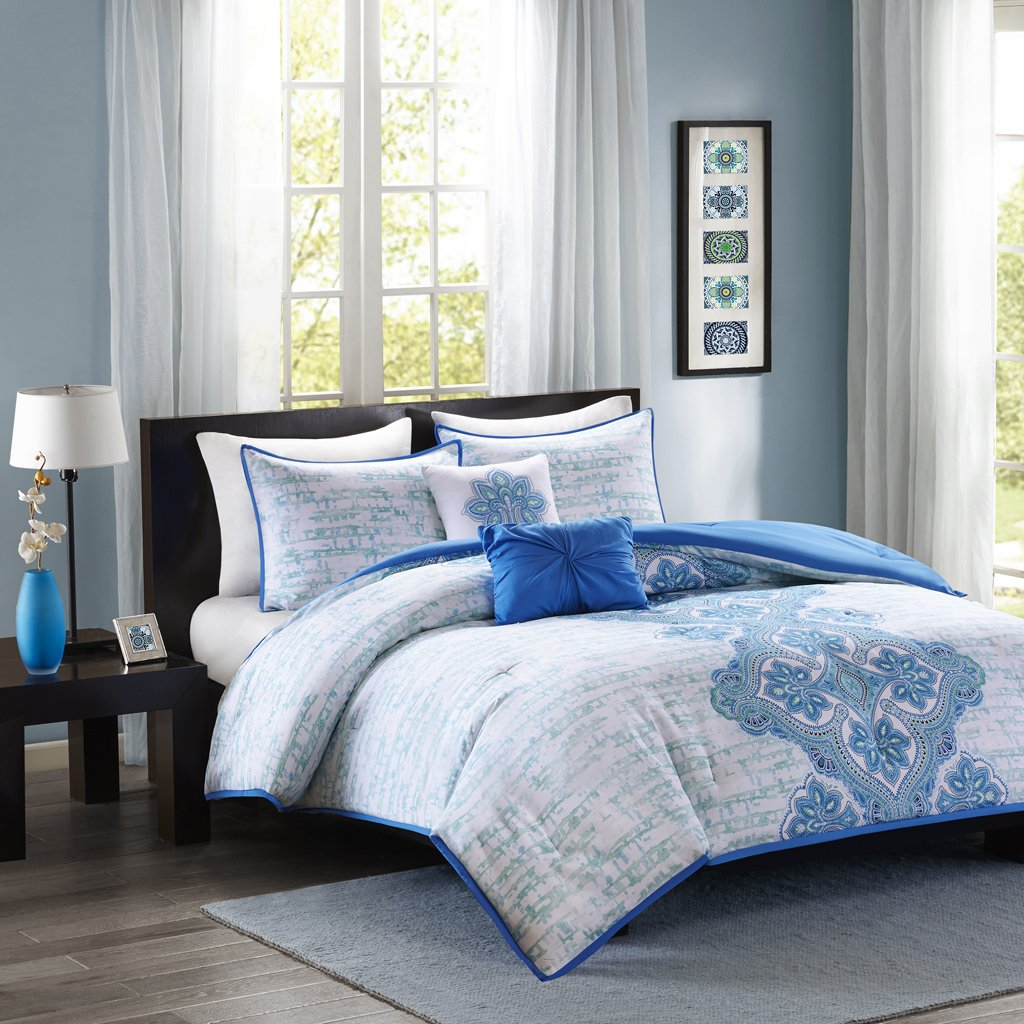 Intelligent Design Avani Comforter Set Twin/Twin Xl Size - Blue, Medallion Damask – 4 Piece Bed Sets – Ultra Soft Microfiber Teen Bedding For Girls Bedroom
