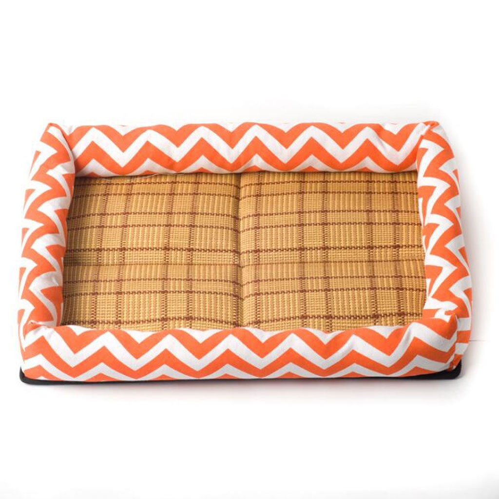 orange M orange M Pet Bed Made Printing Canvas Sponge Made Of Thick Wear-resistant Touch Delicate Multi-color Optional Dog Bed (color   orange, Size   M)