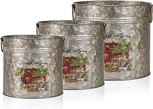 Christmas Metal Vase Galvanized Gardening Planter Bucket Farmhouse Decoration Gardening Gift Souvenir Metal Flower Pots Decoration Gardening Gift Souvenir Metal Flower Pot Round Tub