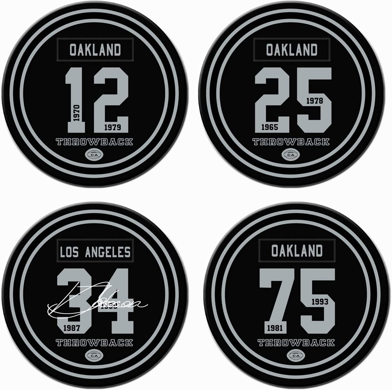 Las Vegas Oakland Football Coasters for Drinks, Ceramic Non Raider Coasters Set of 4, for Raider Man Cave Cup Table Home Deco Mug, Raider Party Supplies Decorations, Raider Gifts for Men Women
