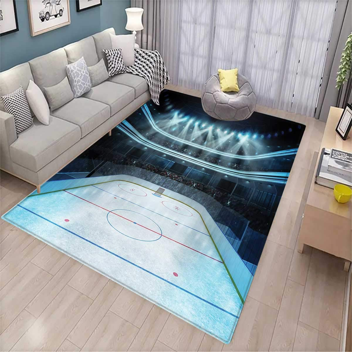 Hockey Extra Large Area Rug Photo of a Sports Arena Full of People Fans Audience Tournament Championship Match Bath Mat for tub Multicolor