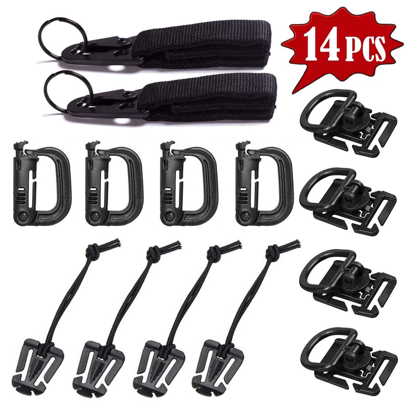 10Pcs Tactical Gear Clip Strap for Molle Backpack Webbing Attachments D Ring Hook Tactical Vest Belt Web Dominator Buckle