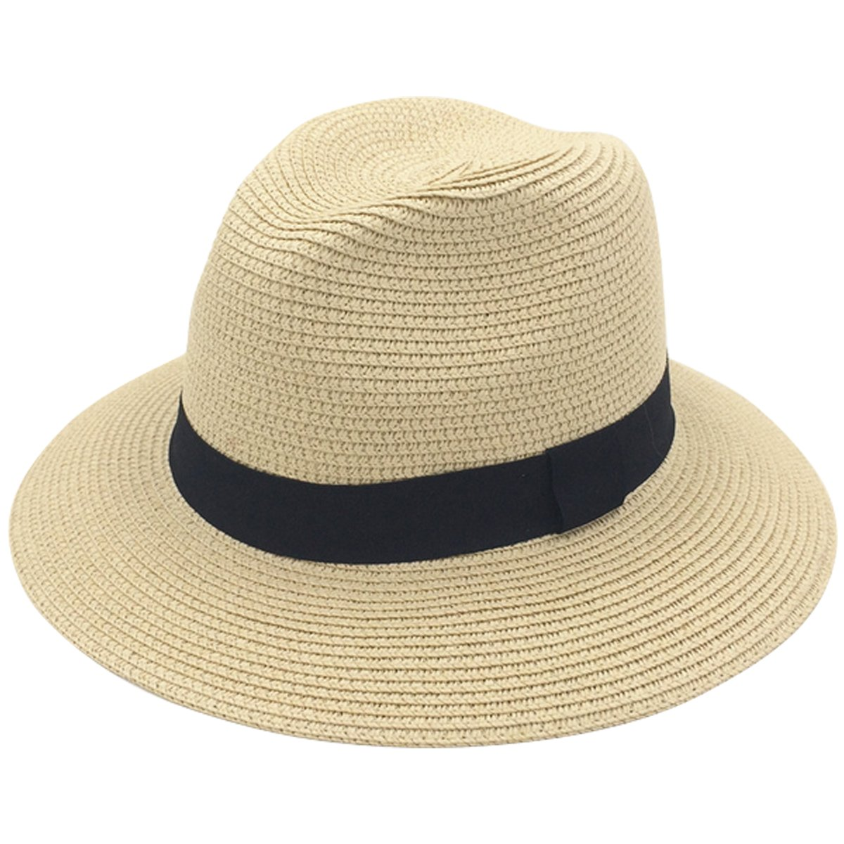 JOYEBUY Womens UPF50 Foldable Summer Straw Hat Wide Brim Fedora Sun Beach Hat (Style A-Khaki)