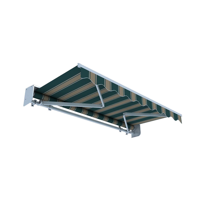 JAROLIFT Gelenkarmmarkise Basic Plus 550 x 350 cm inkl. Regenschutzdach, Stoff braun/grün Multistreifen