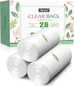 2.6 Gallon 165 Counts Strong Trash Bags Garbage Bags by Teivio, Bathroom Trash Can Bin Liners, Small Plastic Bags for home office kitchen,fit 10 Liter, 2,2.5,3 Gal, Clear