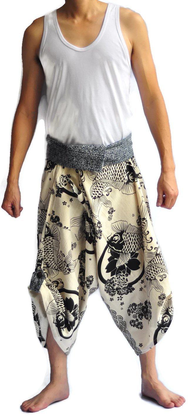 Thai Pants Siam Trendy Men's Samurai Pants One Size white lotus fish Pants Design