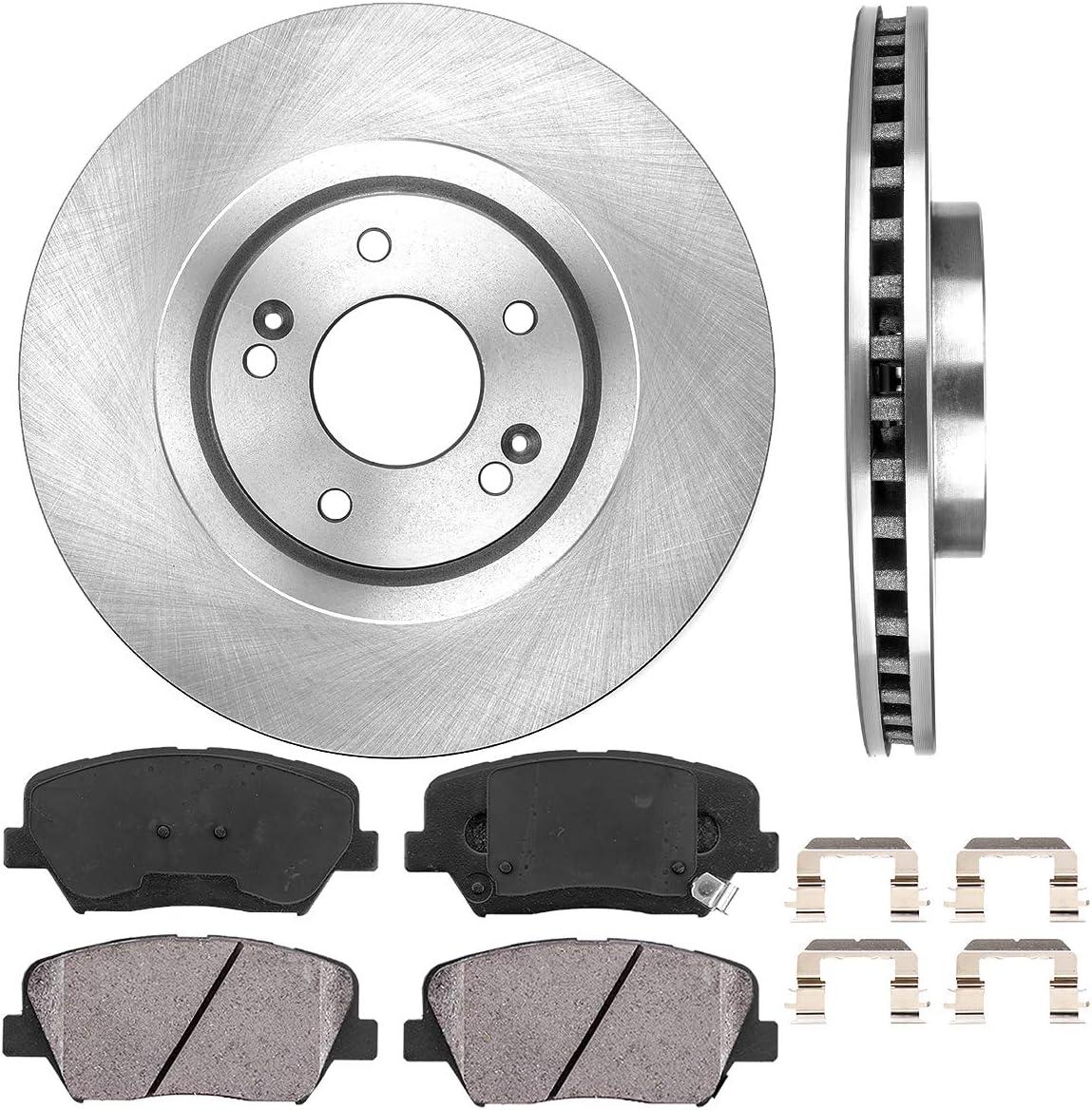 Hardware 4 Callahan FRONT 320 mm Premium OE 5 Lug Brake Rotors + CRK01555 2 Ceramic Brake Pads