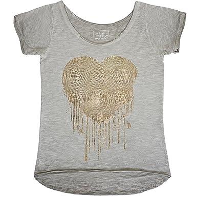 879bc4aa1daaa6 ANNA F. beiges T-Shirt mit Glitzer Herz M  Amazon.de  Bekleidung