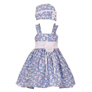 Baby Girls Blue Colorful Floral Print Ruffle Straps Easter Hat Dress 12M