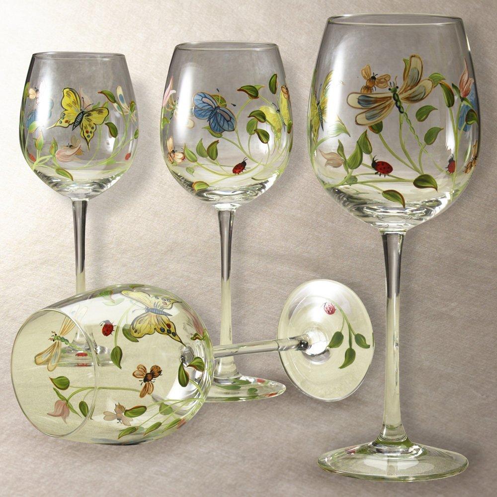 Lenox Butterfly Meadow Handpainted Wine Glass, Set of 4 (Butterfly Wine Meadow Glasses)