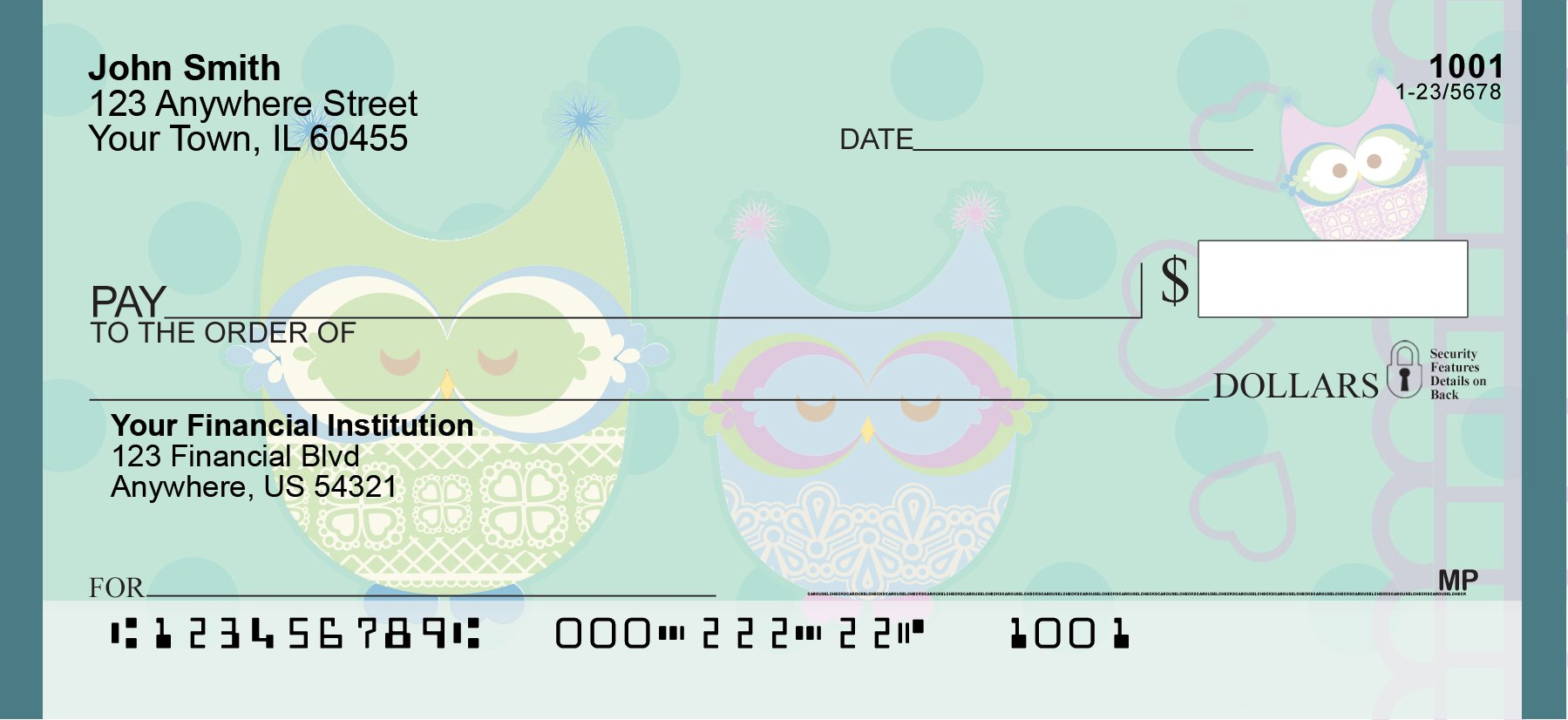 Give a Hoot Personal Checks (1 Box Singles) by Carousel Checks Inc. (Image #3)