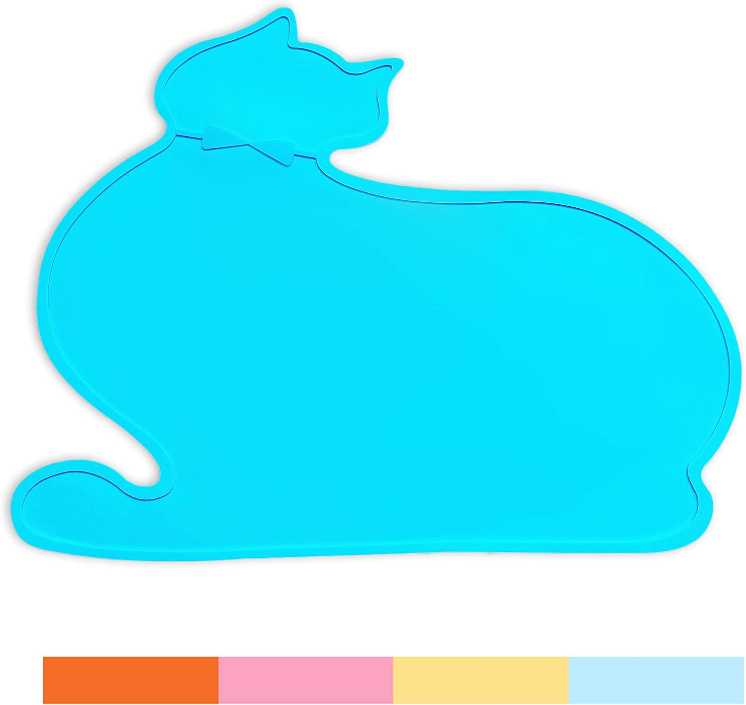 PINCTROT Silicone Waterproof Dog Cat Pet Food Mats Non Slip Food Tray Easy Clean Cute Kitty Shape Feeding Mat (Blue)