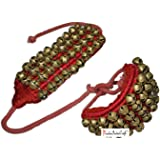 Prisha India Craft ® Kathak Four Line Big Bells (16 No. Ghungroo) Best quality Good Quality Ghungroo Red Pad Indian Classical Dancers Anklet Musical Instrument