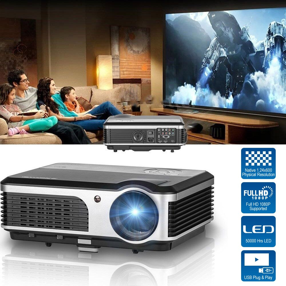 CAIWEI HD Video Projector 2600 Lumens WXGA 1080P LCD LED Multimedia Digital Movie Gaming Home Theater Projector Indoor Outdoor, With HDMI USB TV AV VGA Audio for Laptop PC Smartphone DVD PS4 Xbox Wii