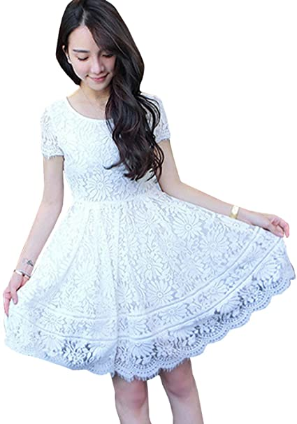 eb7fdf1670c Zumeet Women Lace Knee Length Casual Wearing Dress White at Amazon ...