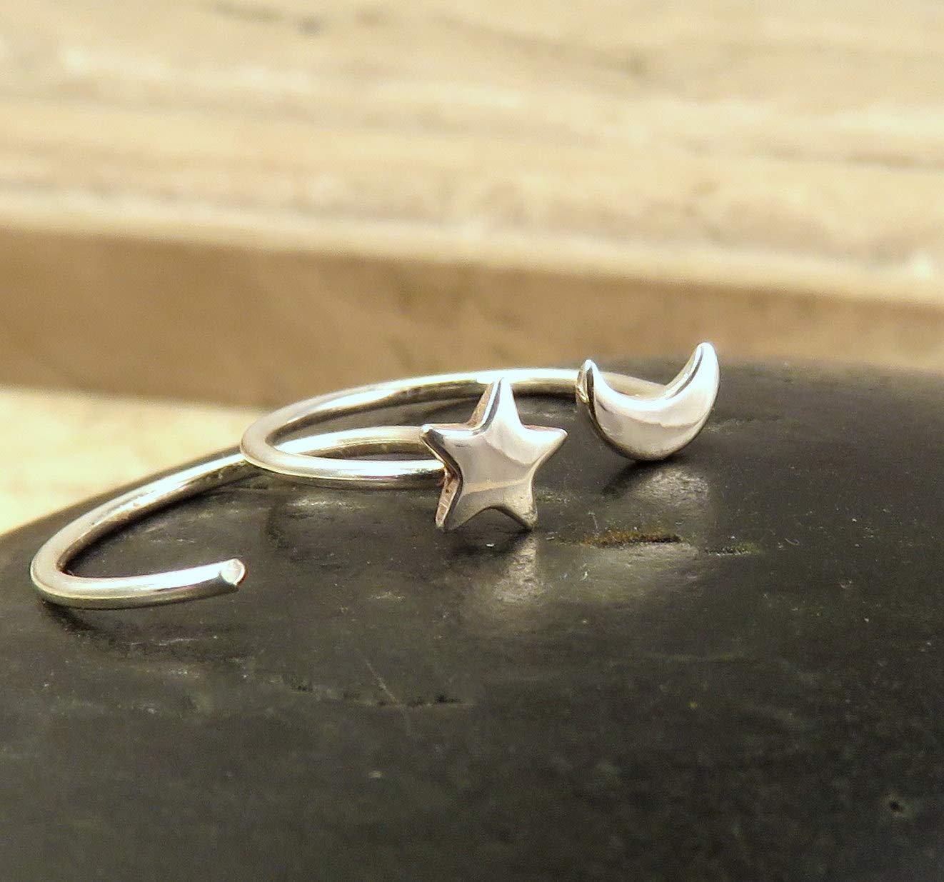 Moon and Stars Stud Earrings Ear Huggies 4mm Size