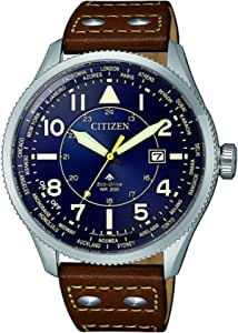 CITIZEN Mens Solar Powered Watch, Analog Display and Leather Strap - BX1010-11L