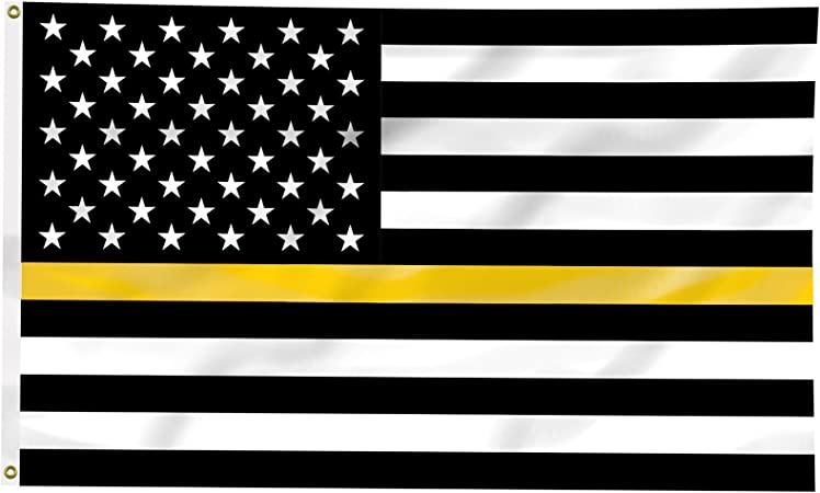 3x5 USA Thin Gold Line American Flag Dispatchers Communications Officers Banner