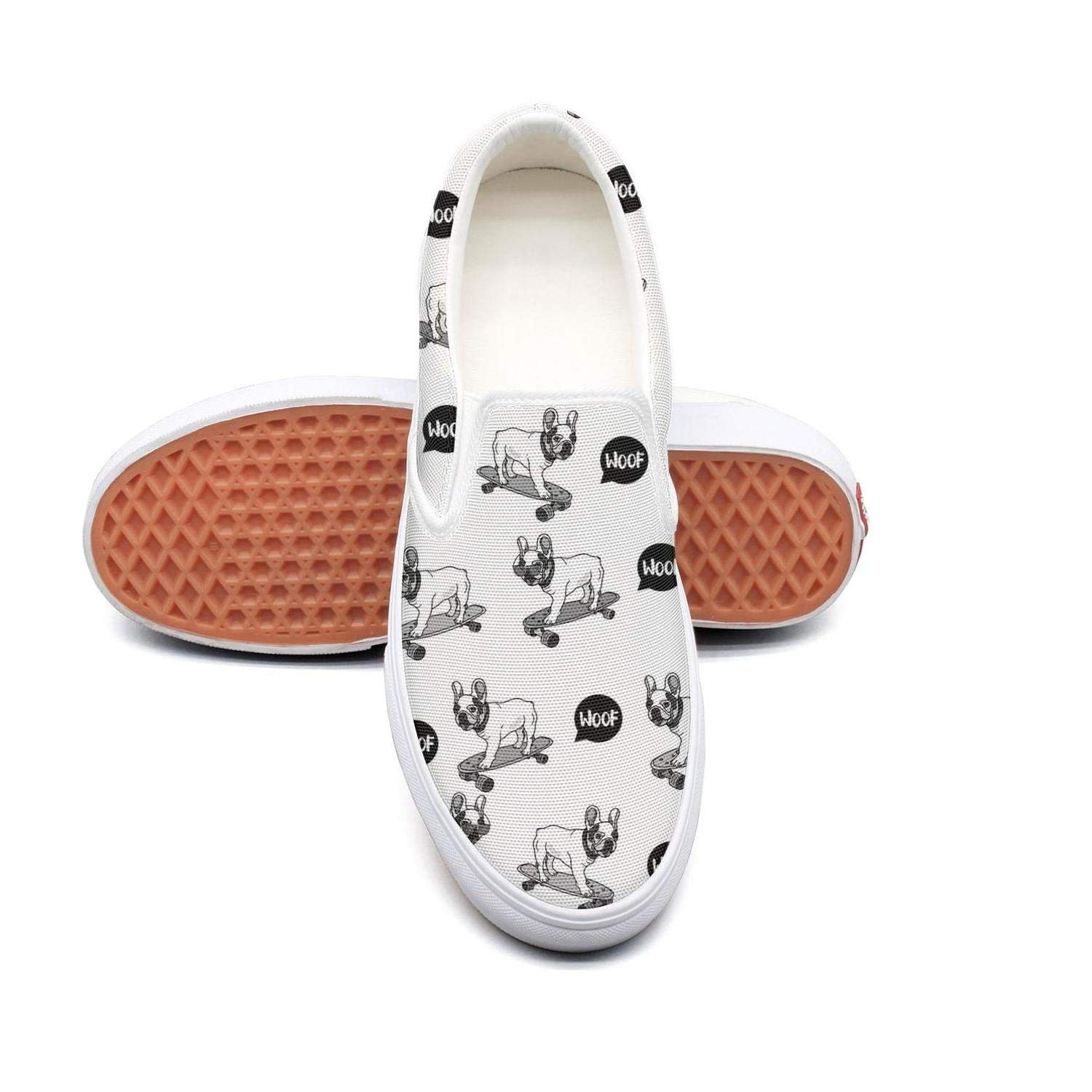 PDAQS Women French bulldog sunglasses on skateboard white loafers slip-on trainers low top