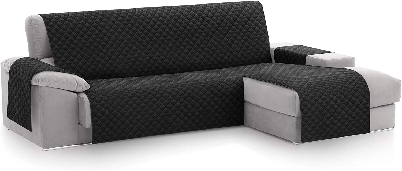 textil-home Funda Cubre Sofá Chaise Longue Malu, Protector para Sofás Acolchado Brazo Derecho. Tamaño -240cm. Color Negro (Visto DE Frente)