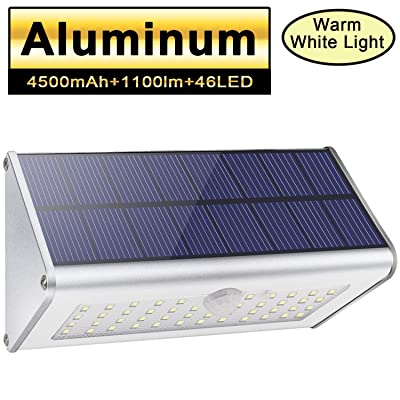 Solar Motion Sensor Lights Outdoor 46 LEDs 1100lm 4500mAh Aluminum Alloy IP65 Waterproof Led Security Outdoor Lights for House Garden, Driveway, Yard, Deck, Fence Post-Warm White