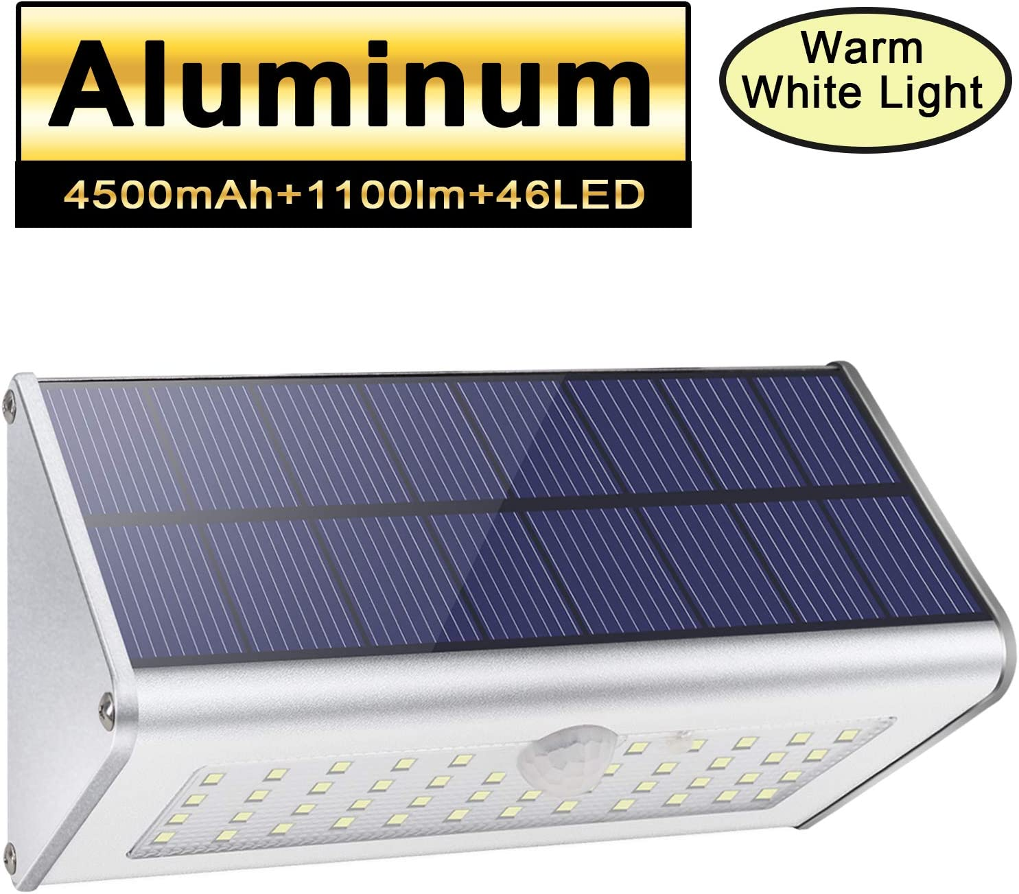 46LED Solar Lights Outdoor 1100lm 4500mAh Aluminum Alloy Housing IP65 Waterproof Motion Sensor Solar Security Lights for Front Door, Yard, Garage, Garden, Deck,Fence-Warm White Light