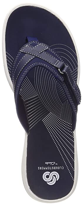 a4aba7a6a278 Image Unavailable. Image not available for. Color  CLARKS Womens Brinkley  Sea Navy Comfort Toe Post Flip Flops ...