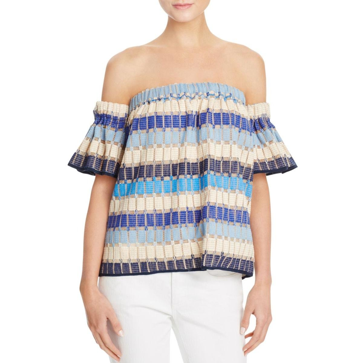 Milly Womens Knit Off The Shoulder Casual Top Blue S by MILLY (Image #1)