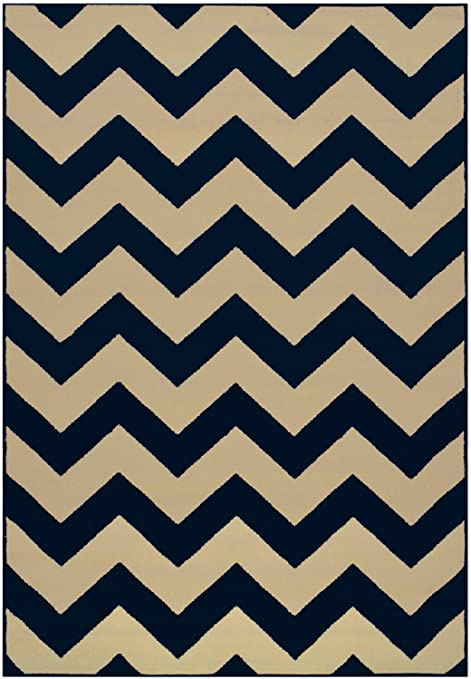 Amazon Com Chevron Navy Blue Cream Yellow Area Rug Contemporary Modern Zigzag Navy Blue 7 9 X 9 10 Kitchen Dining