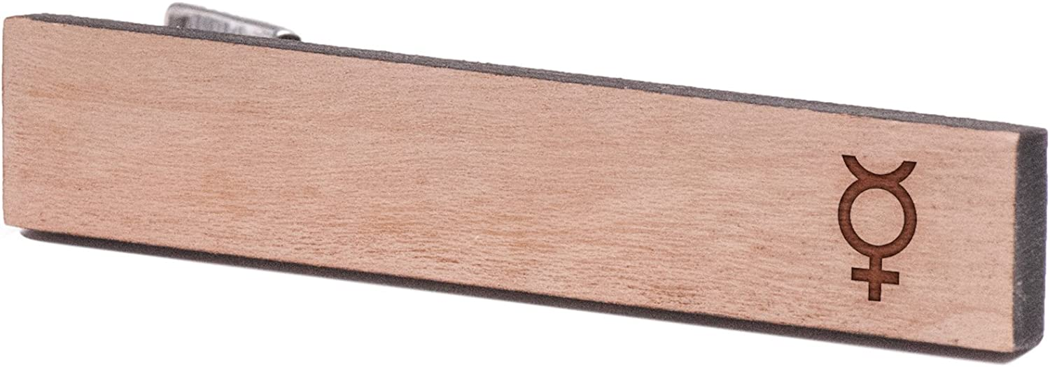 Cherry Wood Tie Bar Engraved in The USA Wooden Accessories Company Wooden Tie Clips with Laser Engraved Mercury Design