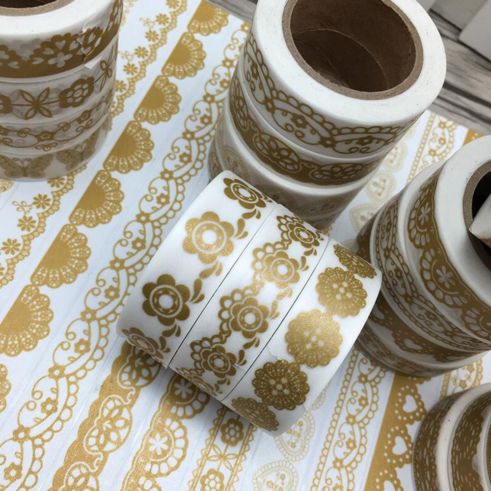 Awerise 5 Rolls Gold Lace Theme Washi Tape, DIY Scrapbooking Decorative Tape, Masking Tape, Planner Tape, Birthday Wedding card Decoration, Craft Gift Decoration Tape Stickers