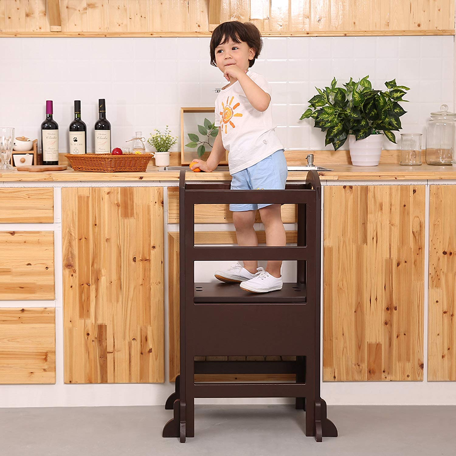 UNICOO- Height Adjustable Kids Learning Stool, Kids Kitchen Step Stool, Toddler Stool with Safety Rail-Solid Hardwood Construction. Perfect for Toddlers (Espresso - 02) by UNICOO (Image #1)