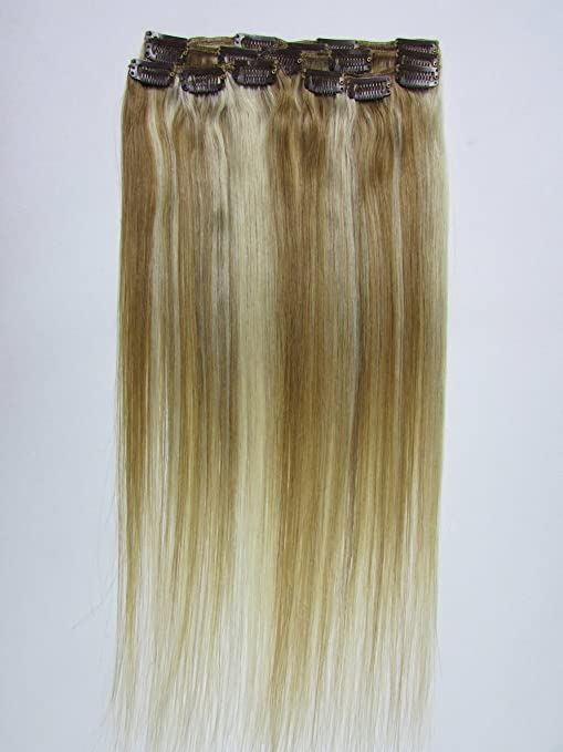 22 Clip In Remy Human Hair Extensions Light Brown With Bleach