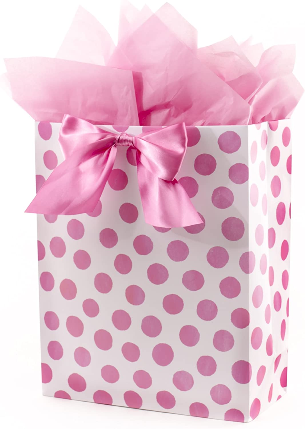 Miniature Gift Bag with Pink Roses and Tissue