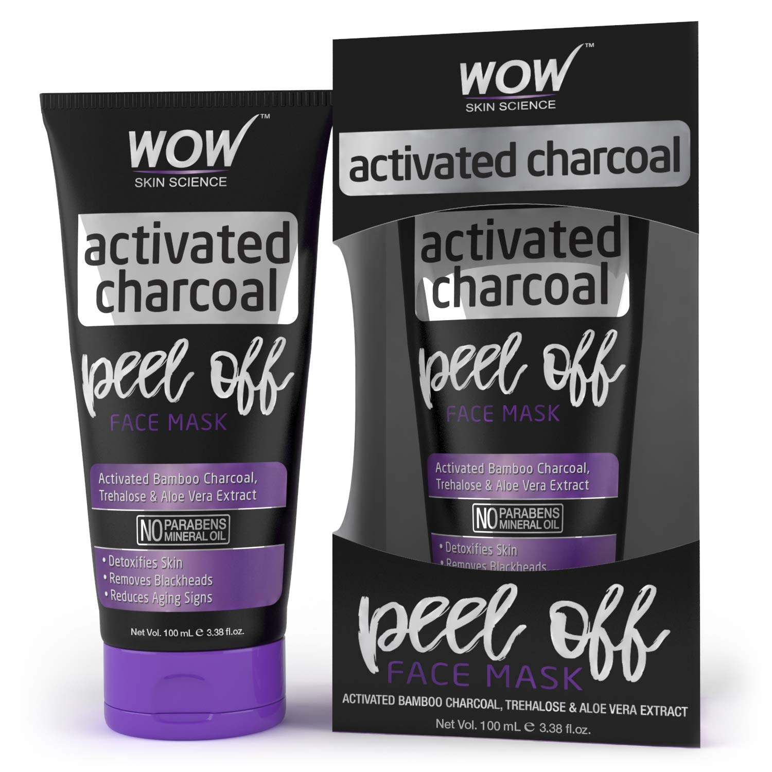 WOW Activated Charcoal Face Mask - Peel Off - No Parabens &