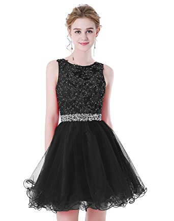 265716f4255 HEIMO Women s Beaded Lace Homecoming Dresses Short Sequins Appliques Prom  Gowns H108 0 Black