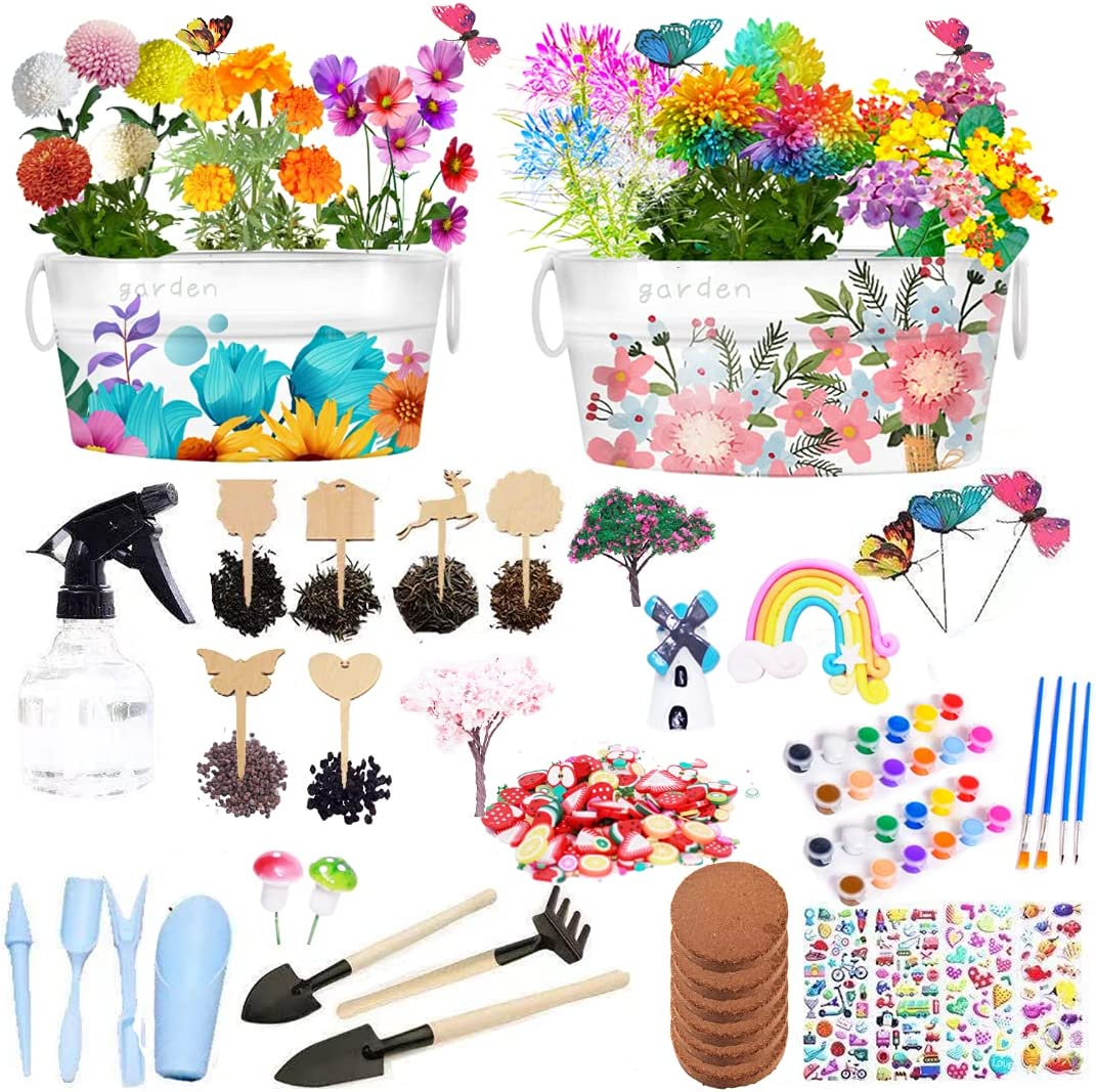 Tnoymiv Kids Flower Paint Planting Growing Kit, Kids STEM Gardening Science Gifts for Girls Boys Ages 4 5 6 7 8 9 10,Arts Crafts Set Grow Include 6 Kinds Flowers