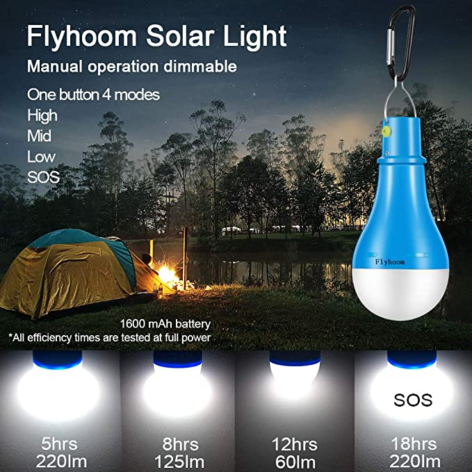 2 Pack Solar Light Bulb,Kyson 9W Solar Remote Light Flashlight Portable Camping Lights Rechargeable Solar Lamp with Remote Control USB Charging for Home Shed Barn Emergency Hiking Tent Indoor Outdoor