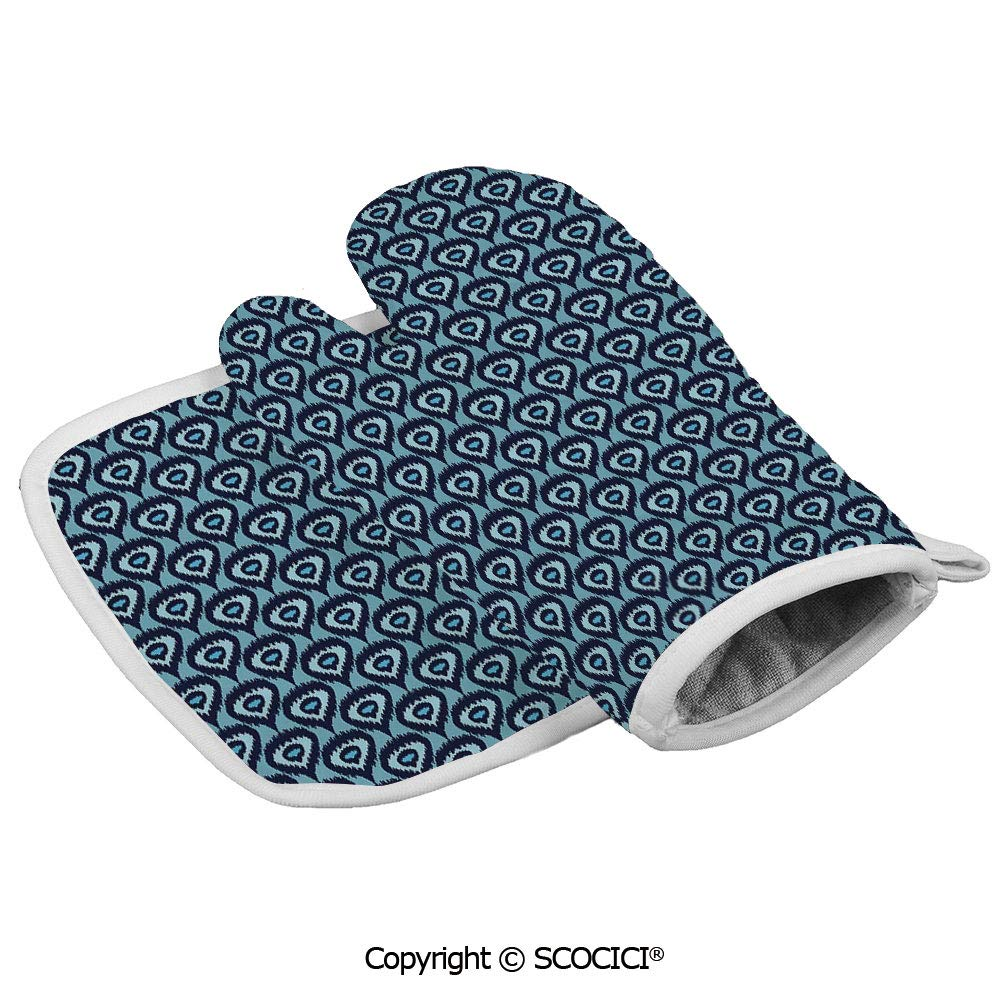 SCOCICI Oven Mitts Glove - Bohemian Ethnic Pattern Abstract Geometric Elements Soft Peacock Tail Pattern Heat Resistant, Handle Hot Oven Cooking Items Safely