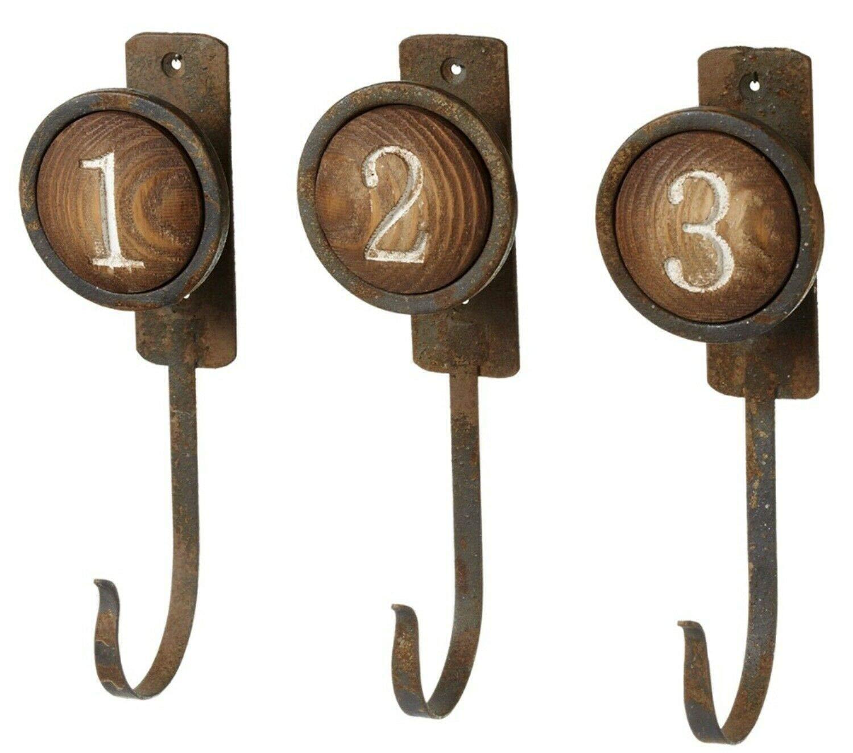 Number One Two Three Round Knob Wall Hooks Set of 3 Wood Metal Farmhouse Decor