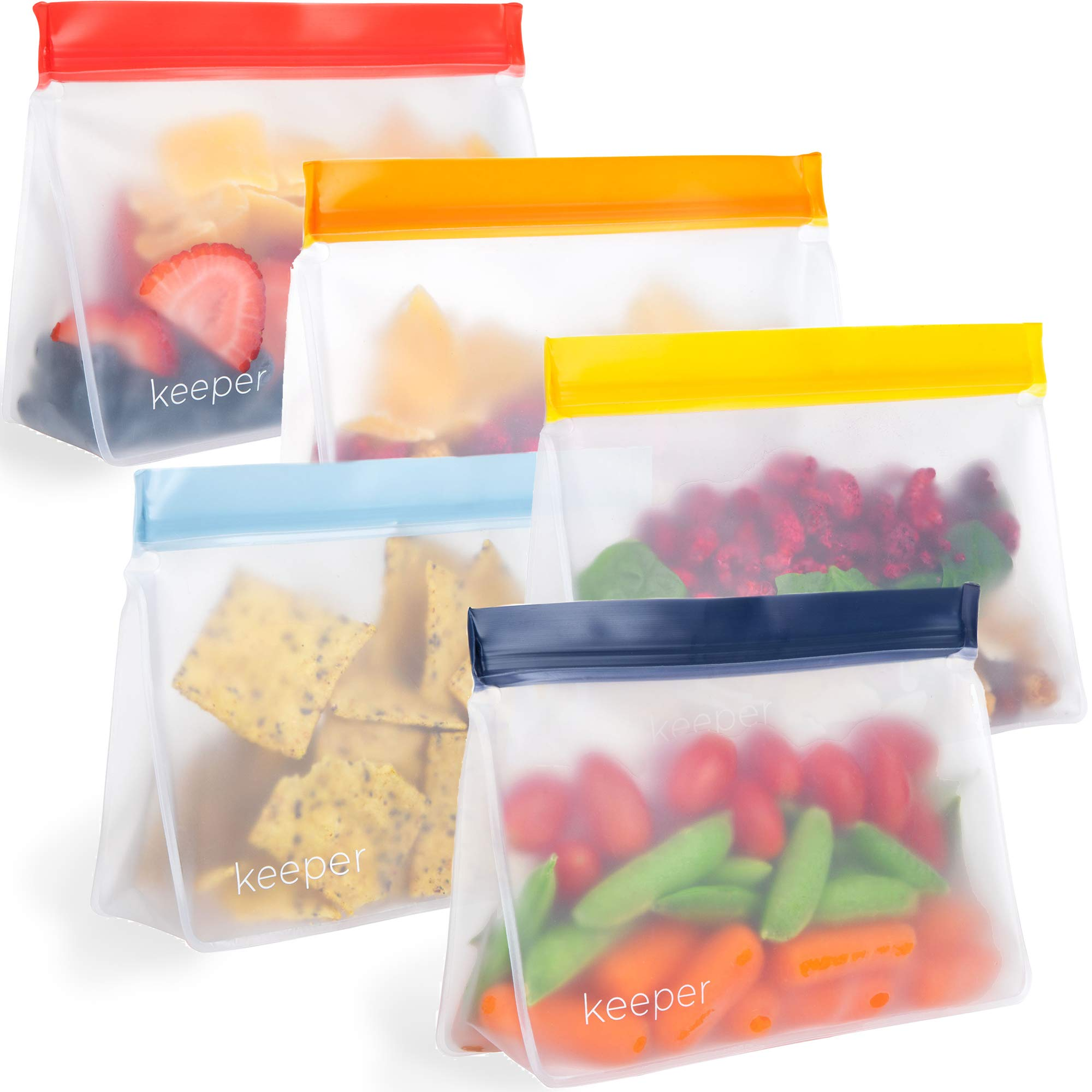 Keeper Reusable Snack Bags (Set of 5, 32 oz) - Reusable Sandwich Bags for Kids Are Resealable Thick Reusable Ziplock Bag For Food, Lunch Storage. Freezer Safe Plastic Lunch Baggies are Hand Washable by Keeper Life