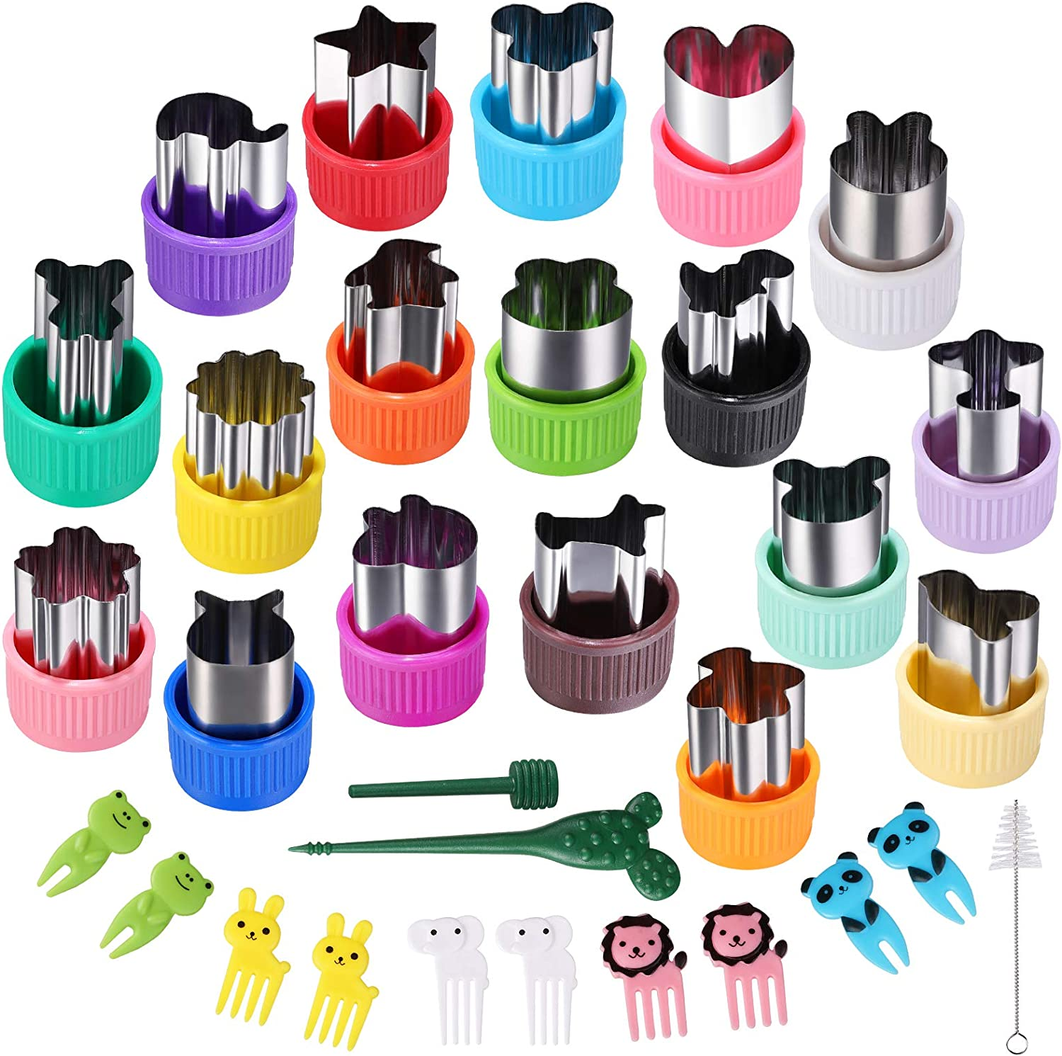 Vegetable Cutter Shapes Set,18pcs Diffent Colours and shapes Mini Sizes Cookie Cutters Set Fruit Cookie Pastry Stamps Mold,Baking Tools & Accessories
