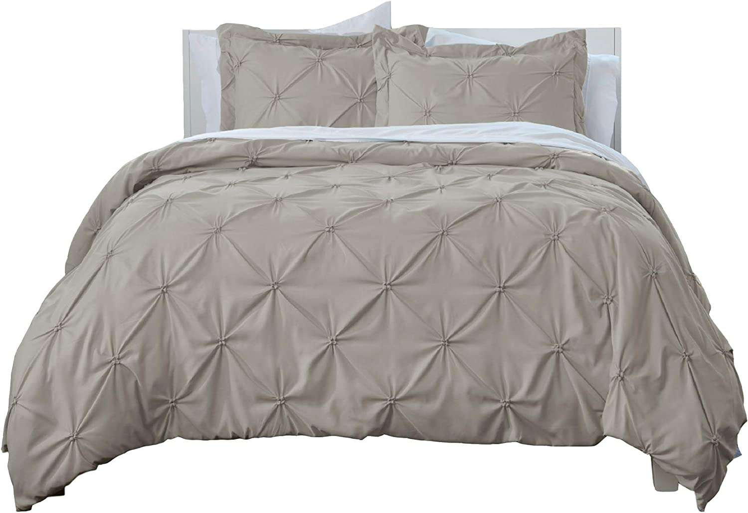 Signature Pinch Pleated Pintuck Duvet Cover 3 Piece Set with Button Closure. Luxuriously Soft 100% Brushed Microfiber with Textured Pintuck Pleats and Corner Ties (Full/Queen, Taupe)