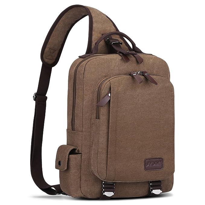 S-ZONE Hombres 13 pulgadas solo hombro diagonal bandolera mochila mochila Al aire libre Crossbody Pack (cafšŠ): Amazon.es: Equipaje