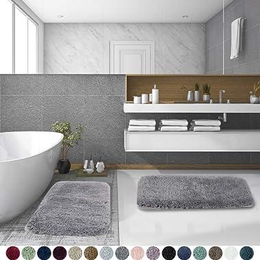 Walensee Shaggy 2 Piece Bath Rug Set, (20 x 32, 2 Pack Set, Grey) Bathroom Rug Set Bath Mats for Bathroom Machine Wash/Dry Absorbent Bathroom Mats Set Non Slip Plush Rug Set for Shower