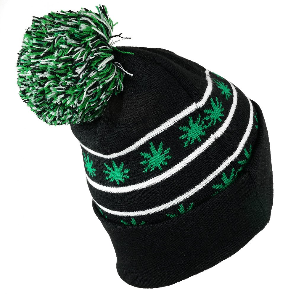 4decb7bf Amazon.com: Marijuana Leaf Pom Pom Acrylic Beanie Hat - Black Kelly Green -  WB071-85: Clothing