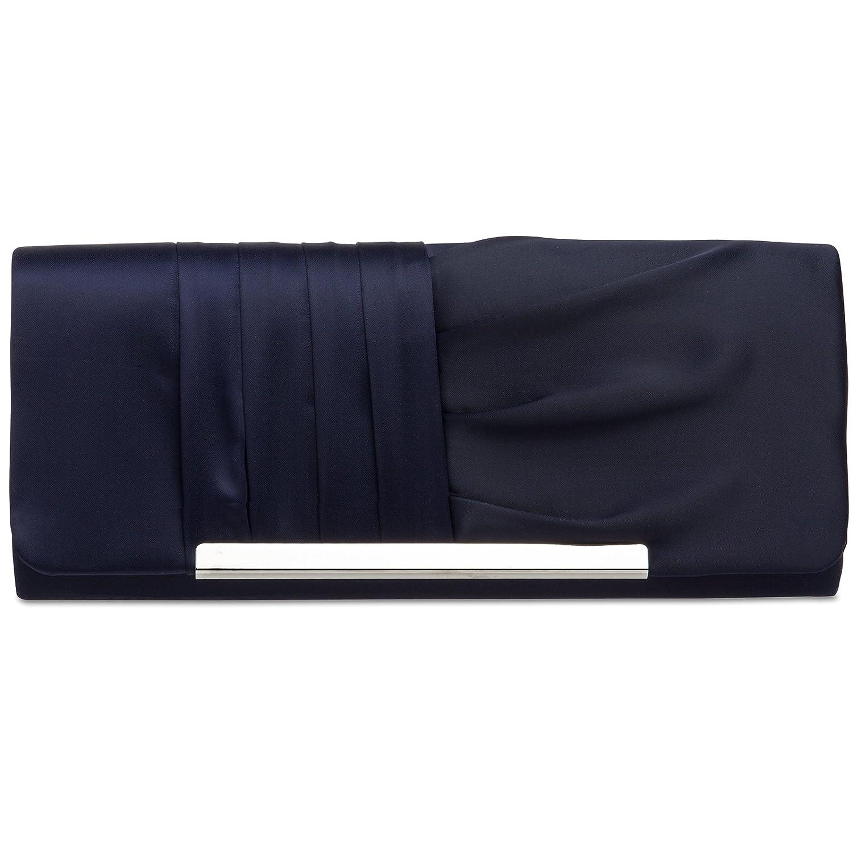 CASPAR TA367 Sac à main clutch élégant pour femme - Pochette de soirée avec longue chaînette et rabat effet drapé 4251085293139